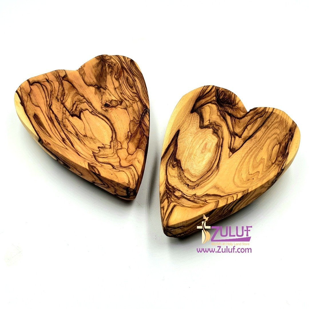 A set of 2 small bowls in the shape of hearts from olive wood KIT025 - Zuluf