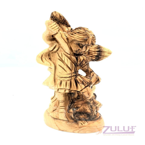 Image of Archangel Michael Statue Olive Wood For Sale ANG030 - Zuluf