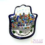 Armenian Ceramic Hamsa Bowl - Hand Made khamsa Hand Home Blessing 16cm by Zuluf CER027 - Zuluf