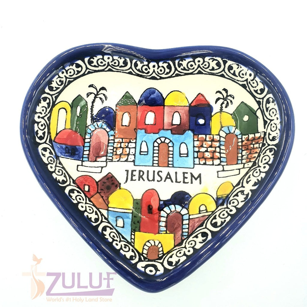 Armenian Ceramic Heart Jerusalem Deep Plate Made in Holy Land Christian Gift from Israel- CER030 - Zuluf