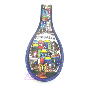 Armenian hand painted cooking Spoon Rest / Ladle Holder Jerusalem City Zuluf TM - CER018 - Zuluf
