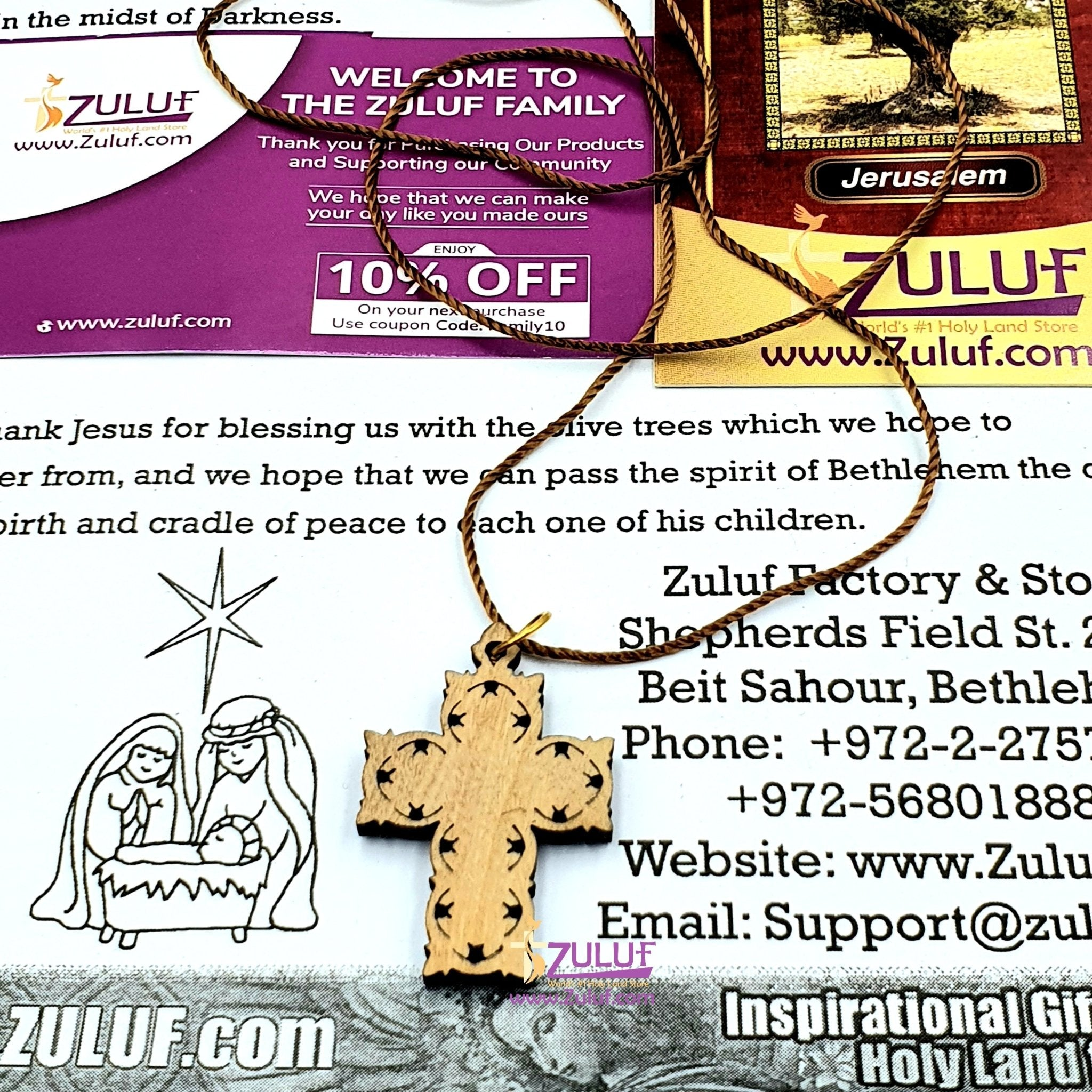 Artistic Olive Wood Cross Pendant with Mother of Pearl by Zuluf PEN188 - Zuluf
