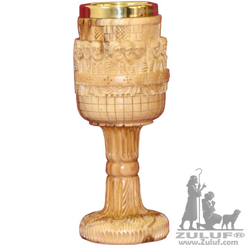Artistic Olive Wood Engraved Last Supper Church Gold Plated Trim Chalice Zuluf - (LATHE001) - Zuluf