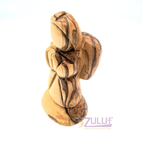 Image of Authentic Hand Carved Olive Wood Christmas Little Praying Angel Holy Land ANG028 - Zuluf