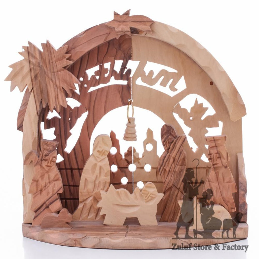 Authentic Handcarved Olive Wood Bethlehem Nativity Zuluf® - 12.5X14.5X7CM/4.9X5.7X2.7in (NAT051) - Zuluf