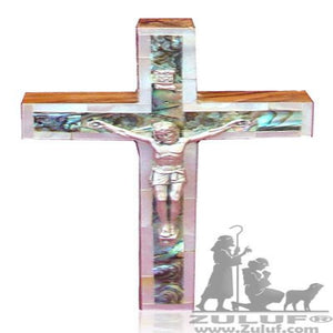 Bethlehem Authentic Mother Of Pearl Catholic Wall Crucifix wood Cross - 12X8/4.7X3.1in (MOP008) - Zuluf