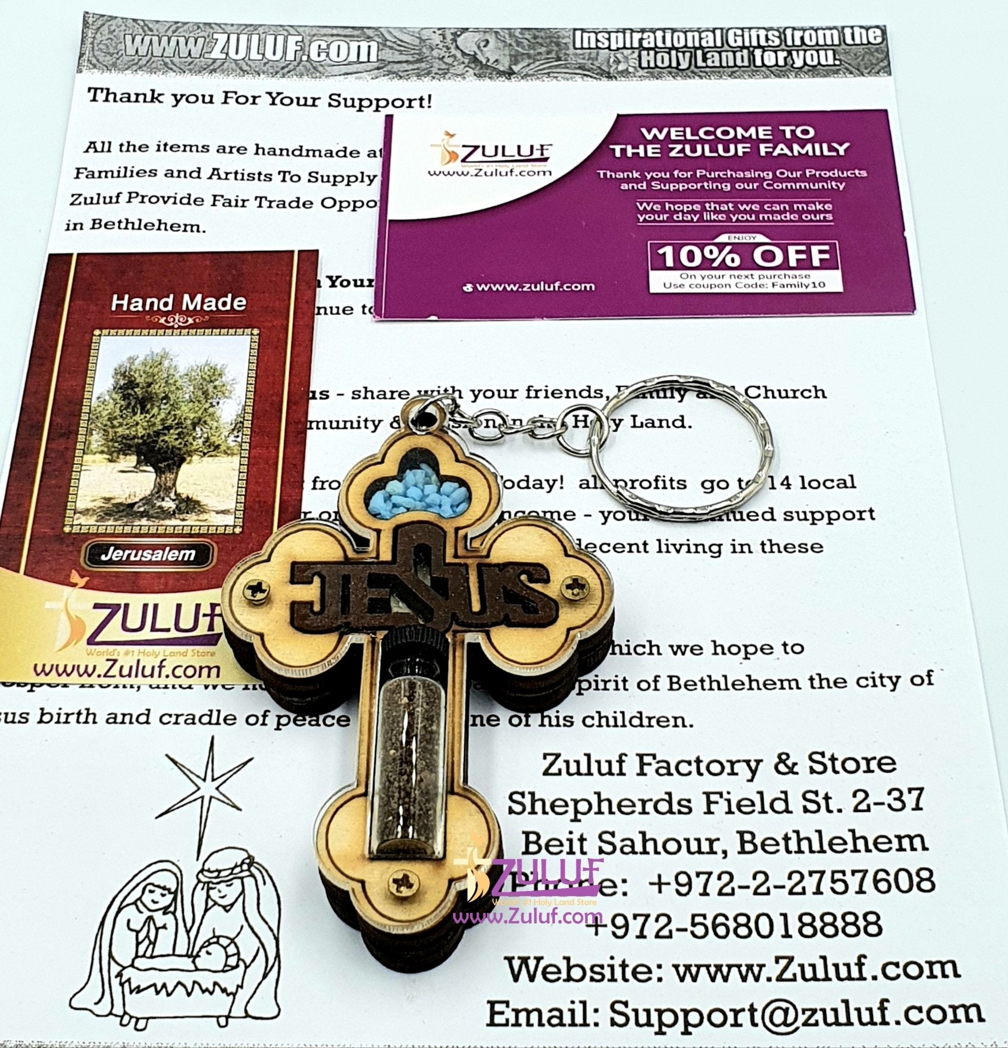 Bethlehem cross keychain with holy land Gifts KC204 - Zuluf
