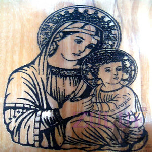 Bethlehem Gift Mary Orthodox Greek Icon Wooden Carved Madonna Jesus - MAG008 - Zuluf