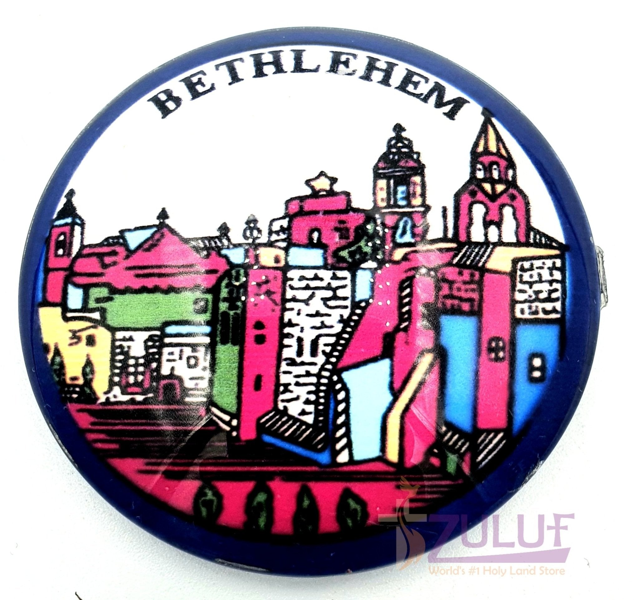 Bethlehem Holy Land City Round Glass Circle Magnet Mag101 - Zuluf