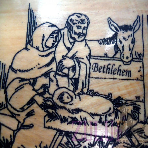 Bethlehem Nativity Scene Carved Icon Magnet laser carved olive wood religious - MAG002 - Zuluf