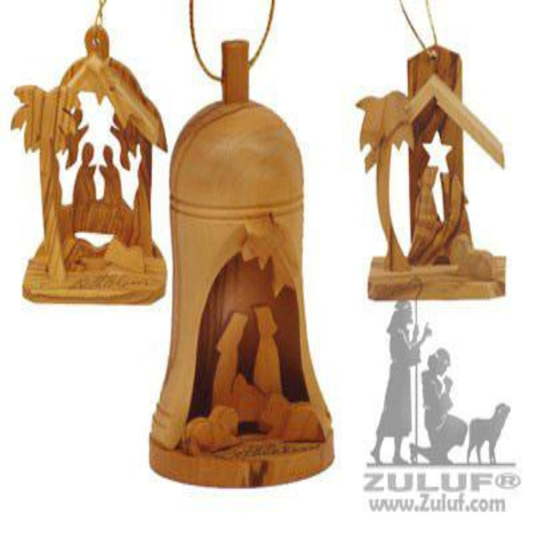 Bethlehem Olive Wood Christmas Ornament Set - Zuluf ORN032 - Zuluf