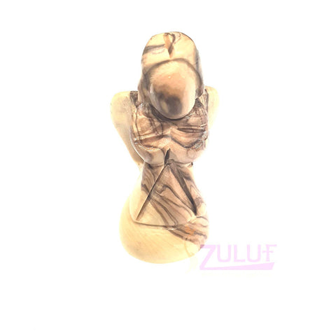 Image of Bethlehem Olive Wood Gift Angel With Wings Made Out Of Genuine Holy Land Olive Tree ANG017 - Zuluf