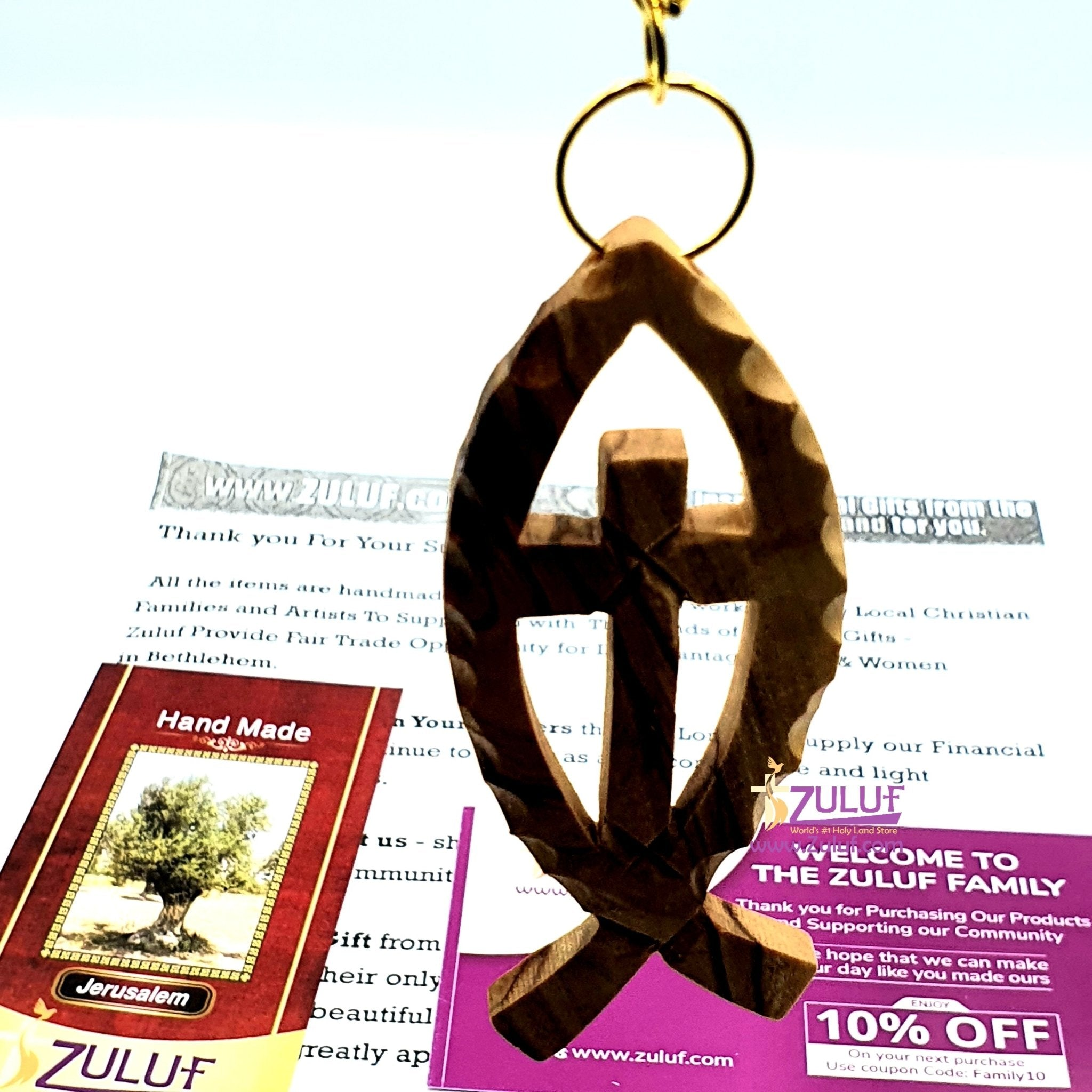 Bethlehem Olive wood hand made fish Keychain KC214 - Zuluf