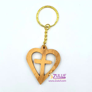 Bethlehem Olive wood hand made heart with cross inside Keychain KC208 - Zuluf