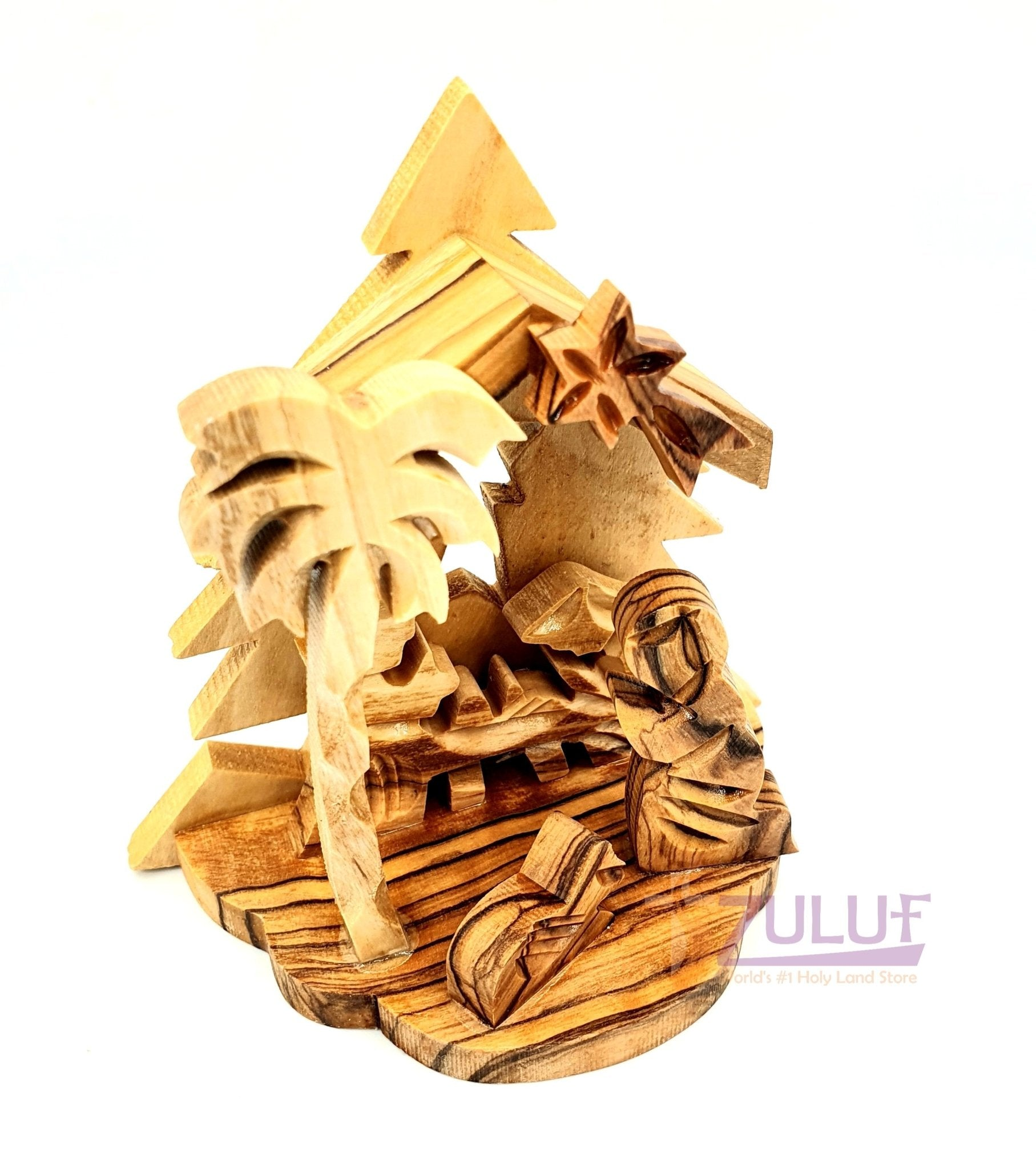 bethlehem star olive wood nativity Israel Holy Land NAT068 - Zuluf