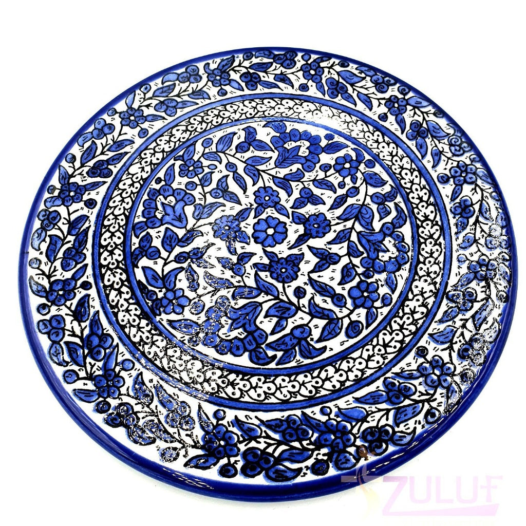 "Big Holy Land Pottery Plate - Ceramic Hand Made Plate 27cm / 10.5 "" CER004 - Zuluf"