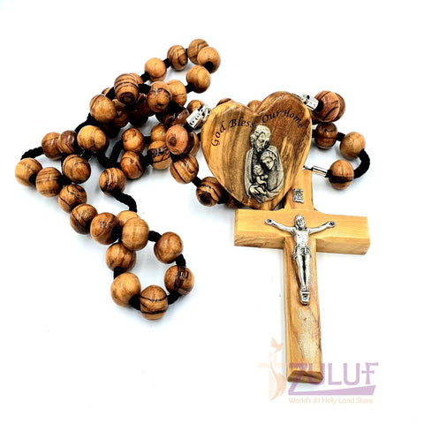 Big Wall Rosary - Olive Wood Very Large Rosary Silver Crucifix - ROS024 - Zuluf