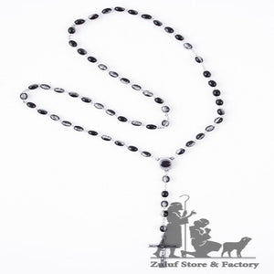 Black Crystal Beads Rosary Necklace for Men - ROS044 - Zuluf
