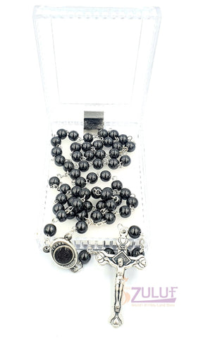 black Hematite Rosary stone Praying Rosary with Crucifix & Holy Soil - ROS010 - Zuluf