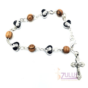 Black metallic bracelet and olive wood pieces with cross BRA066 - Zuluf