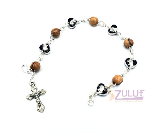 Image of Black metallic bracelet and olive wood pieces with cross BRA066 - Zuluf