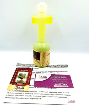 Blessed Olive Anointing Oil In A Cross Shaped Bottle By Zuluf® - (HLG230) - Zuluf