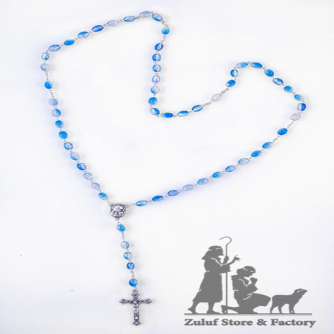 Blue Crystal Beads Catholic Rosary Necklace Holy Soil Medal & Crucifix - ROS027 - Zuluf