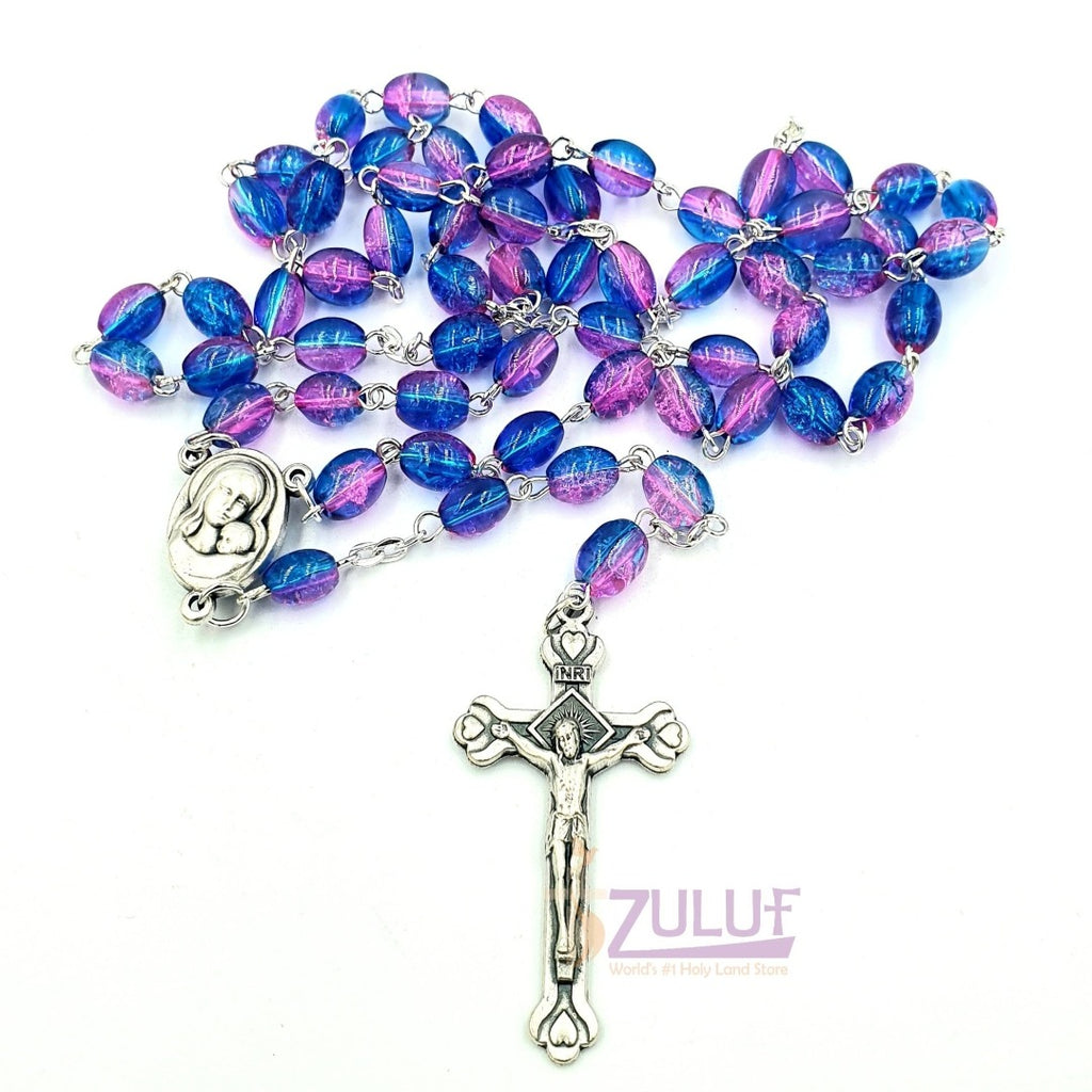 Blue Crystal Beads Hand Made Rosary By Nuns - ROS035 - Zuluf