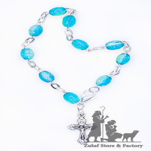 Blue Crystal Rosary Bracelet With Silver Chain and Crucifix - BRA020 - Zuluf