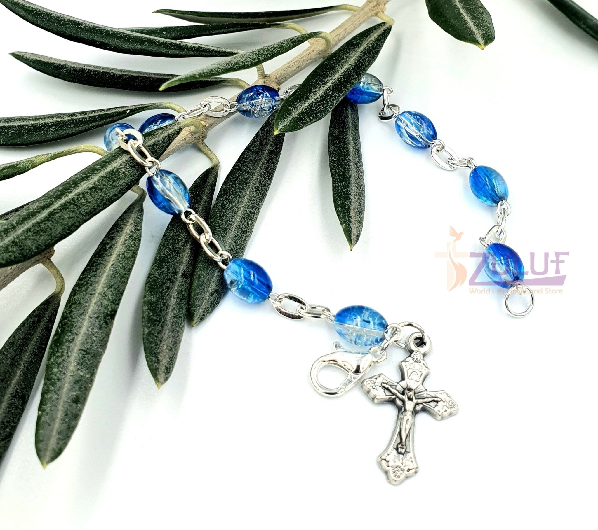Blue Crystal Rosary Bracelet With Silver Chain and Crucifix - BRA023 - Zuluf