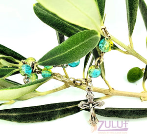 Blue Crystal Rosary Bracelet With Silver Chain and Crucifix - BRA024 - Zuluf