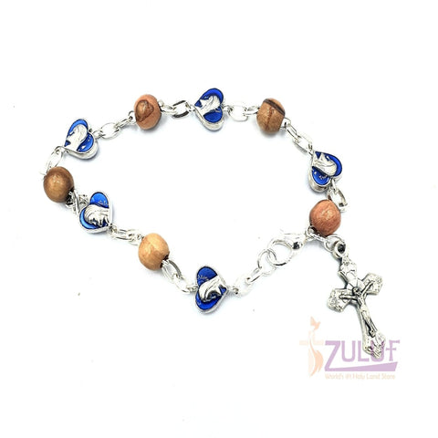 Blue metallic bracelet and olive wood pieces with cross BRA065 - Zuluf