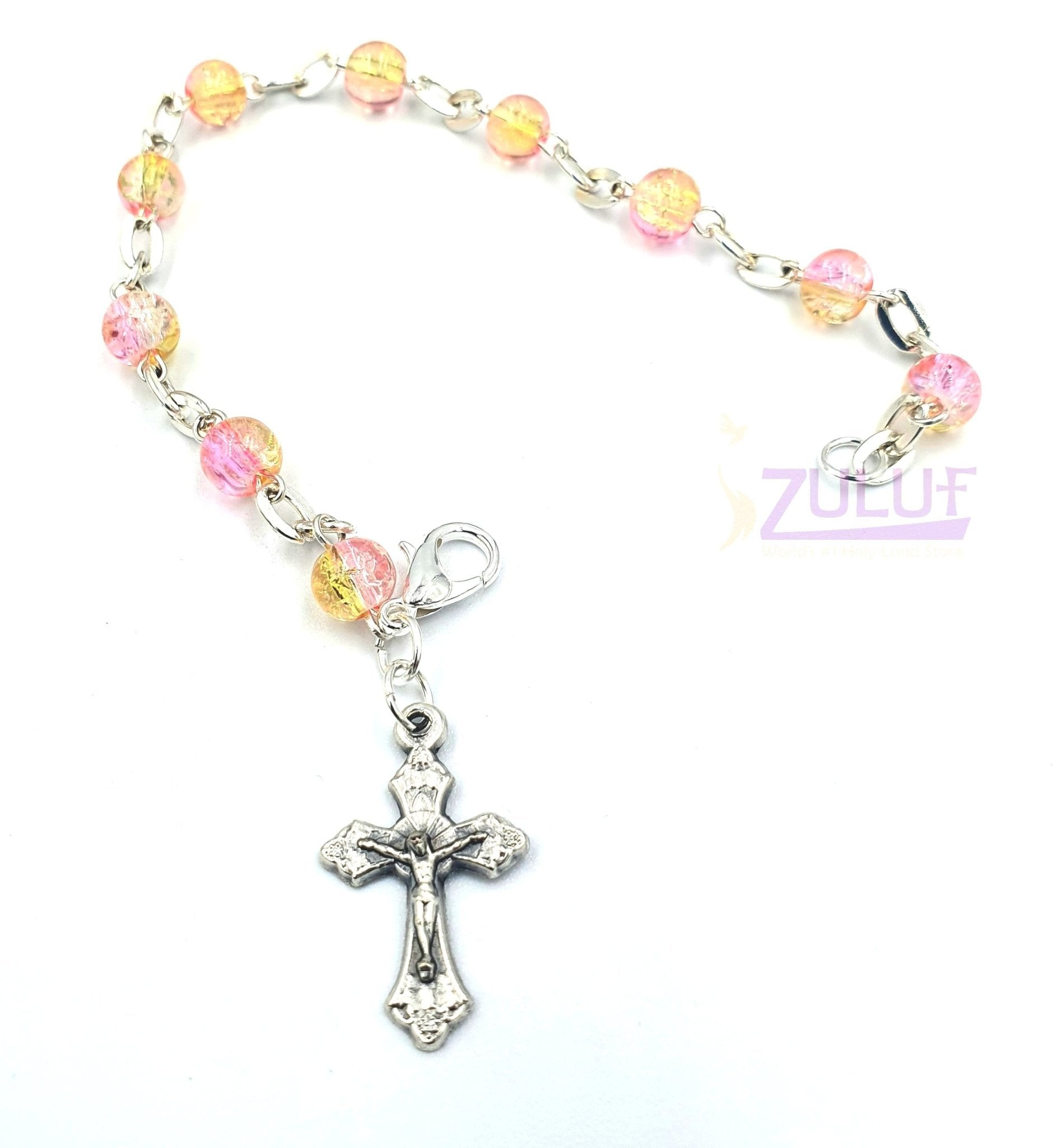 Bright yellow and pink Religious Bracelet Jesus Crucifix Silver Plated Bracelets Religious Jewelry Stores - BRA067 - Zuluf