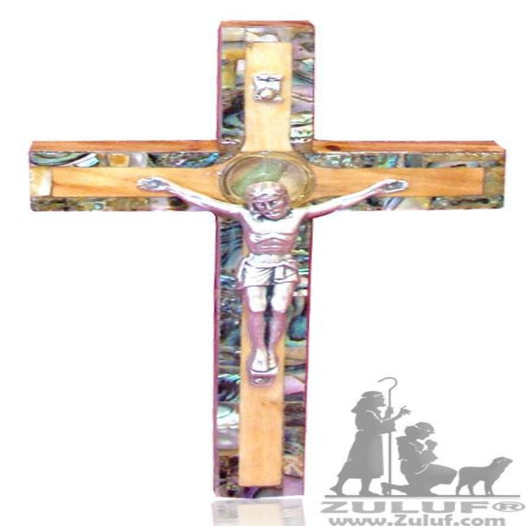 Catholic Olive Wood Wall Cross Framed With Mother Of Pearl Bethlehem Zuluf®- 16X10CM/4.7X3.1in (MOP021) - Zuluf
