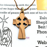 Celtic Cross Necklace with Mother of Pearl PEN179 by Zuluf - Zuluf