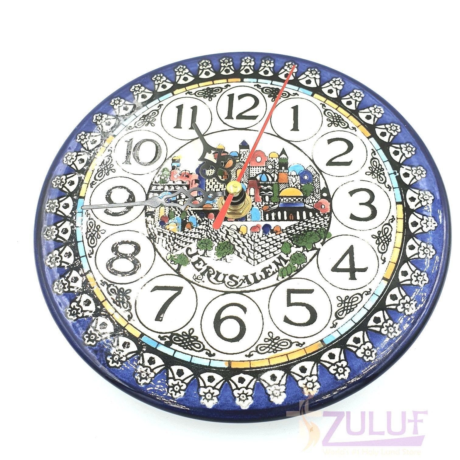 Ceramic Armenian Wall Clock Judaica Gift Jerusalem Holy Land Gift for Home 16cm / 6 Inches CER034 - Zuluf