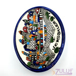 "Ceramic Bowl Holy Land - Oval Hand Painted 16cm / 6.5 "" - CER005 - Zuluf"