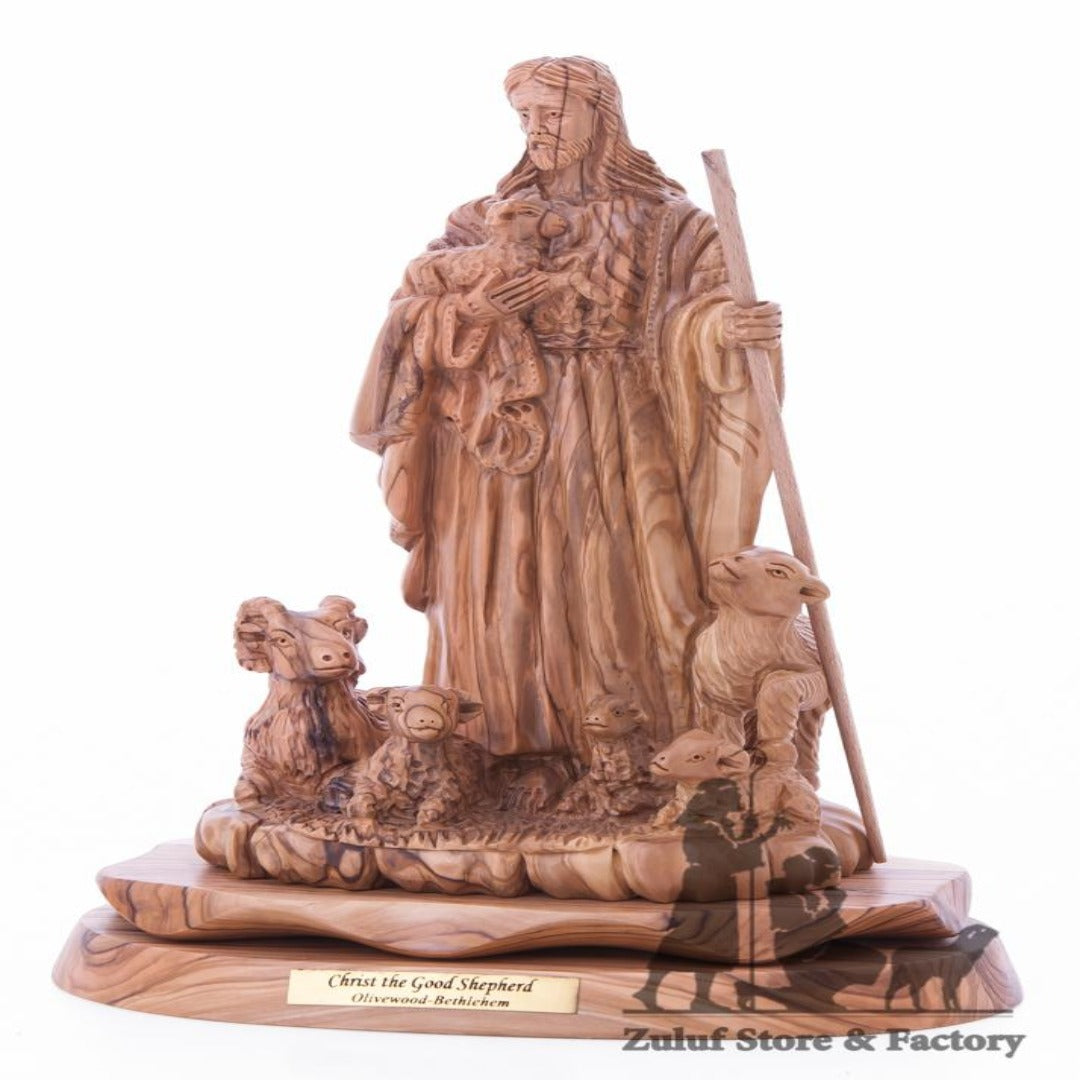Christ The Good Shepherd Olive Wood Figure Zuluf ® - ART016 - Zuluf