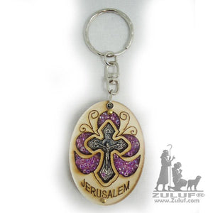 Christian Craft From The Holy Lands Cross Key Chain Zuluf® 5.5X4CM/2.1X1.57in - KC031 - Zuluf