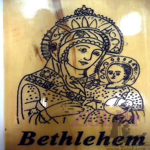 christian gift kitchen magnet icon Bethlehem Mary & Jesus wooden mother of god - MAG003 - Zuluf