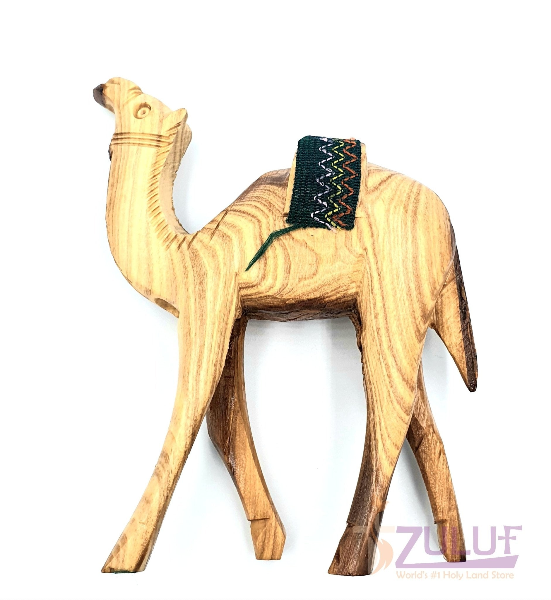 Christian Gift Olive Wood Camel Handmade Figure Red or green Saddle by 14.5cm ANI001 - Zuluf