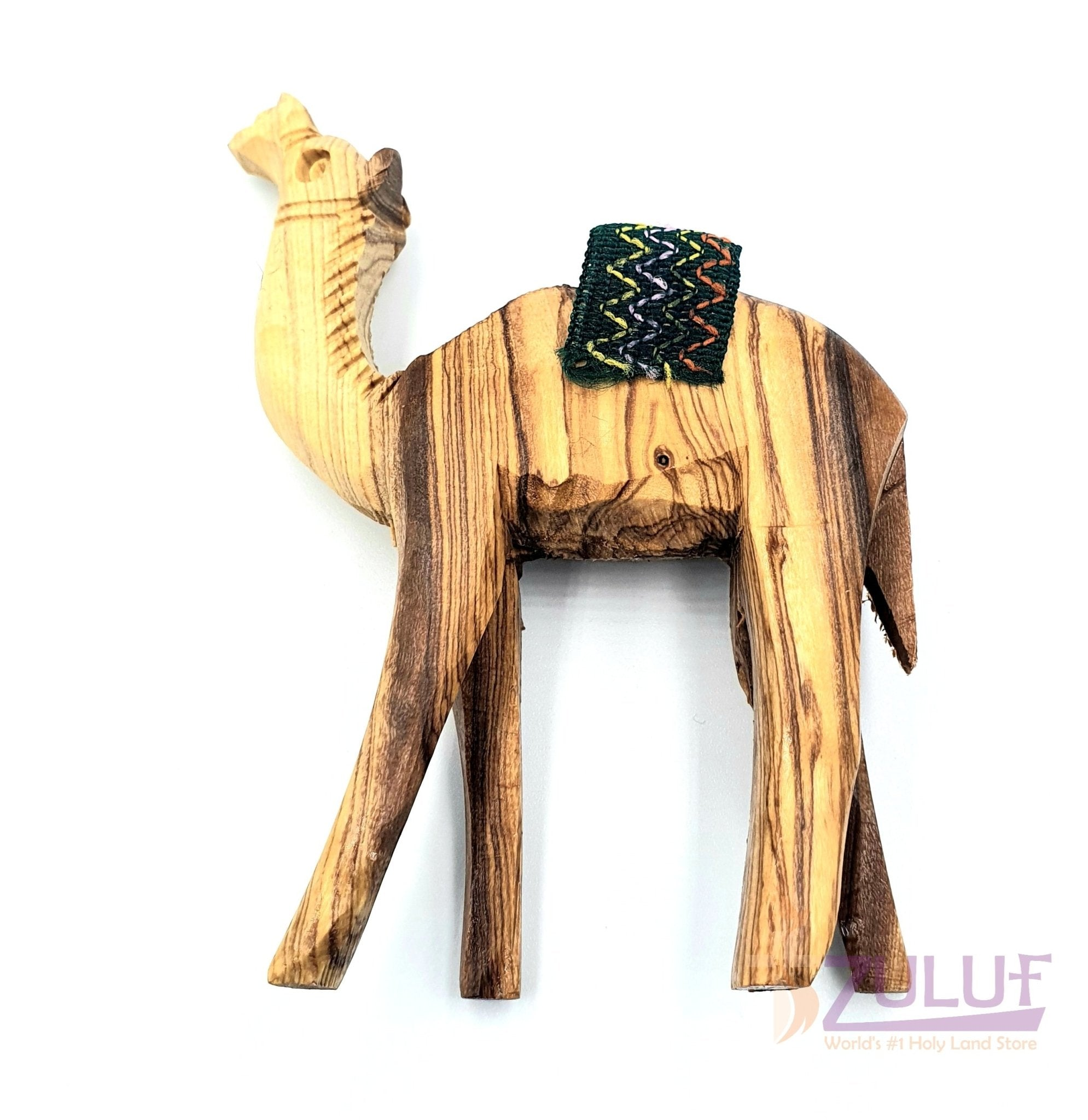 Christian Gift Olive Wood Meduim Camel Handicraft Red Saddle By ZULUF Factory, 11.5X9CM - ANI002 - Zuluf