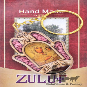 "Christian Key Chain, Hamsa Hand Virgin Mary Jerusalem By Zuluf - 5.7*4CM/2.2*1.5"" (KC112) - Zuluf"
