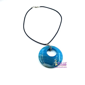 circle stony Neckalec With a leather chain NEC007 - Zuluf