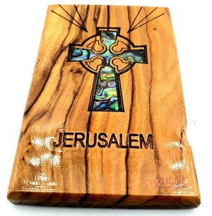 Cross Magnet Religious Art Olive Wood and mather of pearl Holy Land - MAG066 - Zuluf