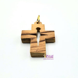 Cross Olive Wood Charm Zuluf Gifts - PEN071 - Zuluf