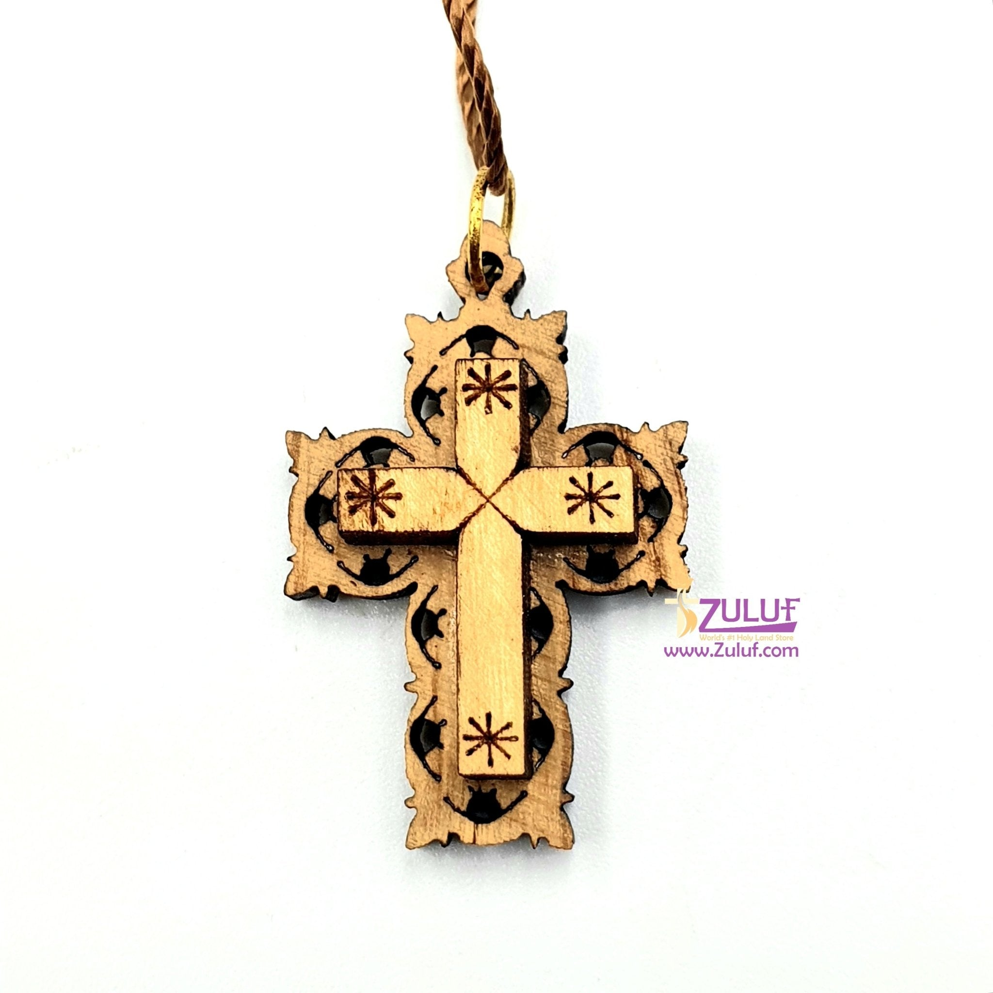 Cross Pendant Jesus with Necklace Hand Made laser Engraved Olive Wood Holy Land - PEN148 - Zuluf