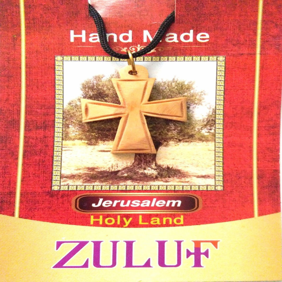 Cross Pendant Necklace Olive Wood Jerusalem Cross Holy Land Bethlehem - PEN165 - Zuluf