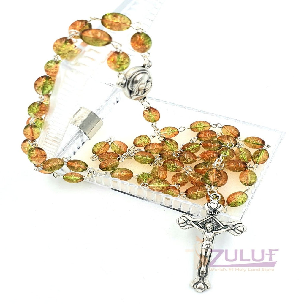 Crystal Beads Rosary Catholic Necklace Holy Soil Medal & Crucifix - ROS036 - Zuluf