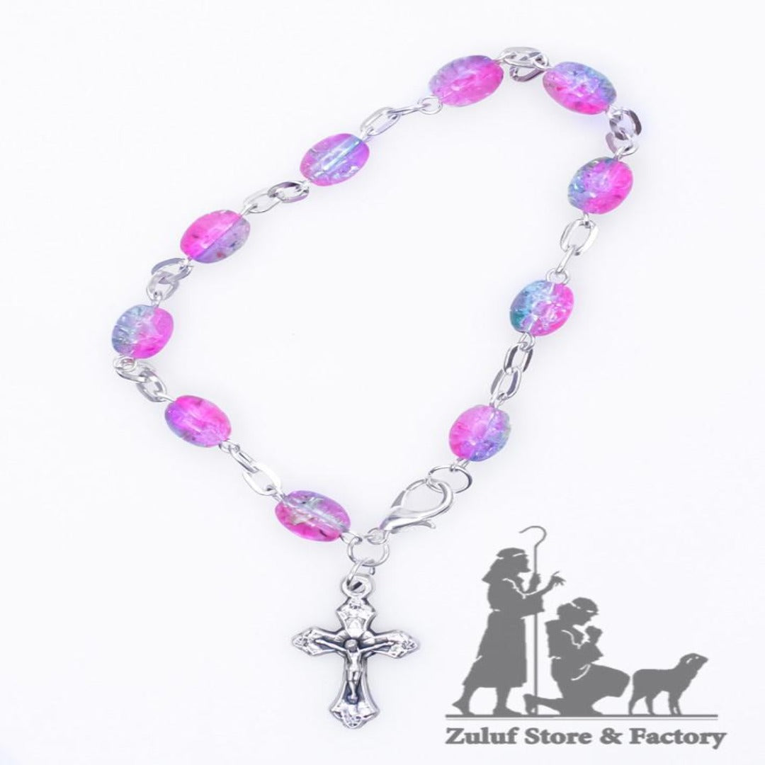 Crystal Rosary Bracelet With Silver Chain and Crucifix - BRA003 - Zuluf